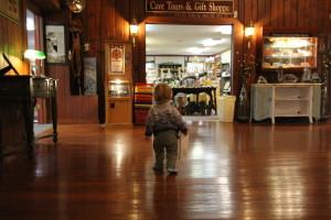 Eli exploring the Diamond Caverns gift shop